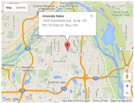 Google Map of Innovate Sales headquarters in West St. Paul, MN